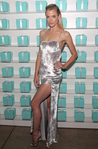 dress silver gown jaime king slit dress prom dress sandals velvet velvet dress
