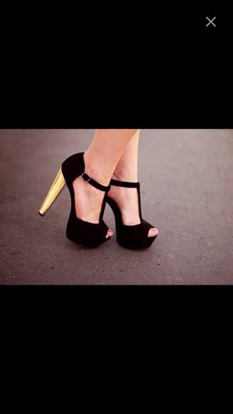 gold heel black strappy heels gold heels