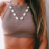 shirt,beach,shell,swimwear,crotchet bralet,crochet crop top,puka shell,nit,knit,wear,sea shells,brown,white,beige,seashell top,lace top,top,crop tops,nude
