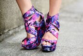 multicolor,wedges,pink,white,purple,shoes,high heels,blue,floral,galaxy print,floral wedges,purple pink blue suede wedges,summer wedges,coral wedges,galaxy shoes,galexy wedges