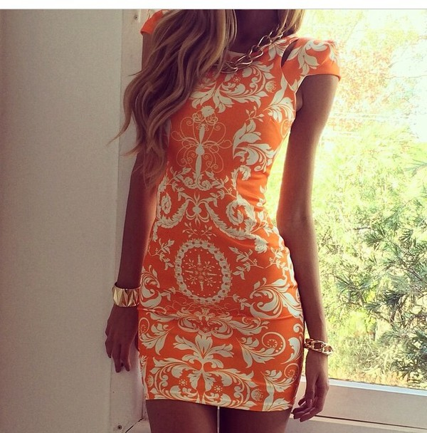 fall outfits fall dress dress sexy dress fashion orange dress short sleeve