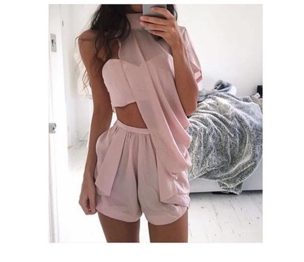 Top shorts romper light pink light pink/peach peach two-piece jumpsuit dress blouse ...