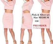 dress,pink,silver,bodycon dress,two piece dress set
