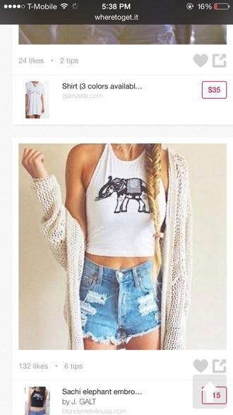 shirt elephant white crop top shorts cardigan