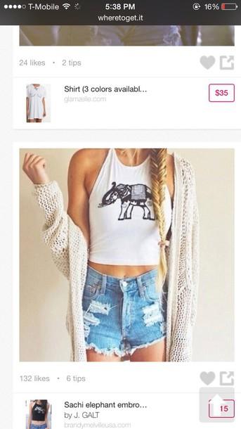 shirt elephant white crop tops shorts cardigan