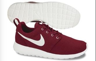 shoes nike nike roshe run bordeaux size 39 dark red