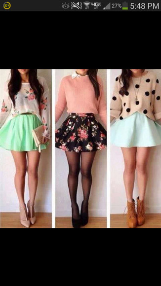 shirt color sweater pink fllower floral skirts pretty girly flowwy flowers asap
