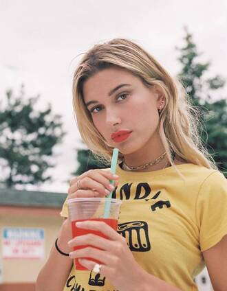 top yellow model hailey baldwin t-shirt