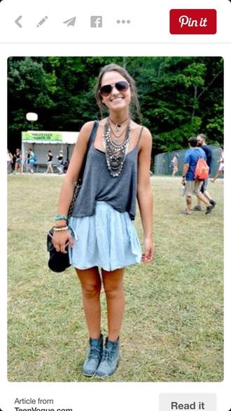 skirt blue denim gray tank sunglasses necklace boho boots combat boots