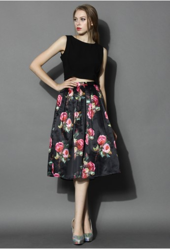 Shades of Roses Pleated Midi Skirt - Retro, Indie and Unique Fashion