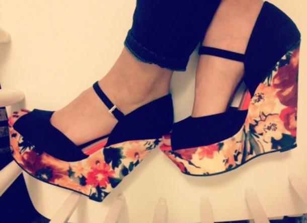 Shoes Floral Shoes Wedges Black Floral Wedges High Heels