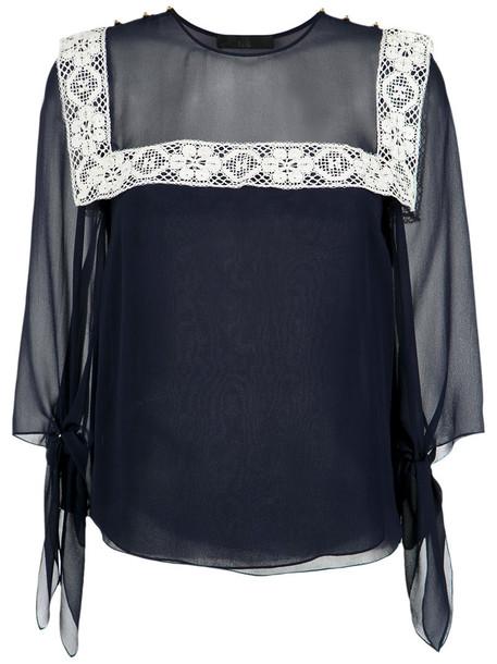 Nk blouse women lace blue silk top
