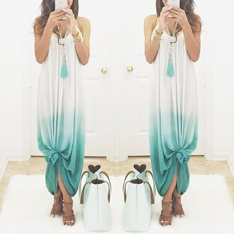 ombre ombre dress ombre maxi maxi maxi dress teal aqua summer summer dress summer outfits mint mint dress leather bag purse blogger