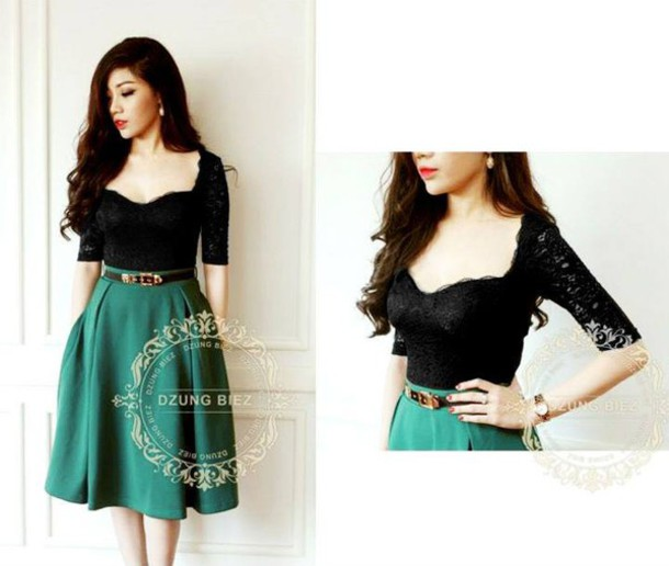 Dress: top, lace top, black top, green, skirt, green skirt, trendy ...