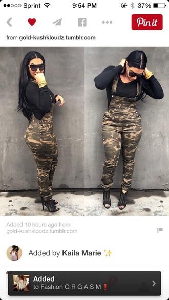 jumpsuit overalls camo pants