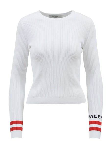Valentino top ribbed top white red