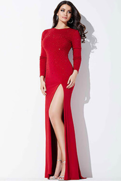 Jovani Prom Dresses Red Long Sleeve