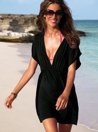 Amazon.com: V-Shape Cover Up Beach Dress - Small/Medium - Black: Clothing