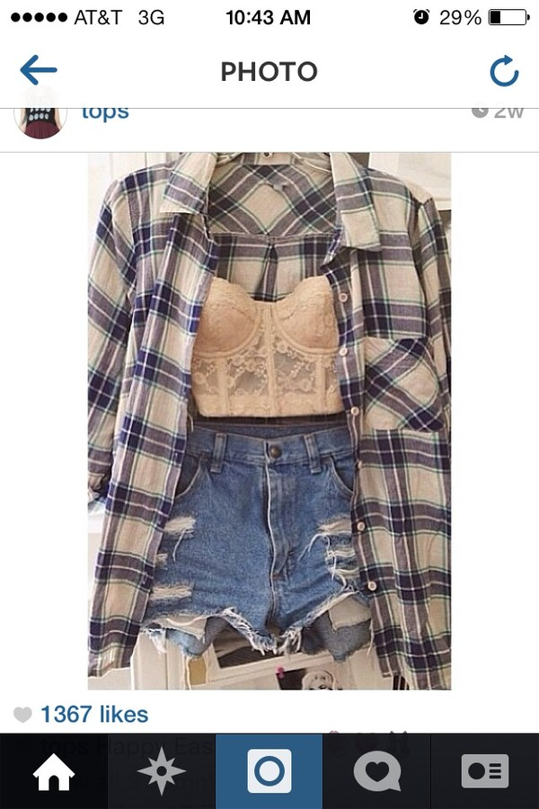 shirt flannel shirt nude bustier distressed shorts tank top shorts