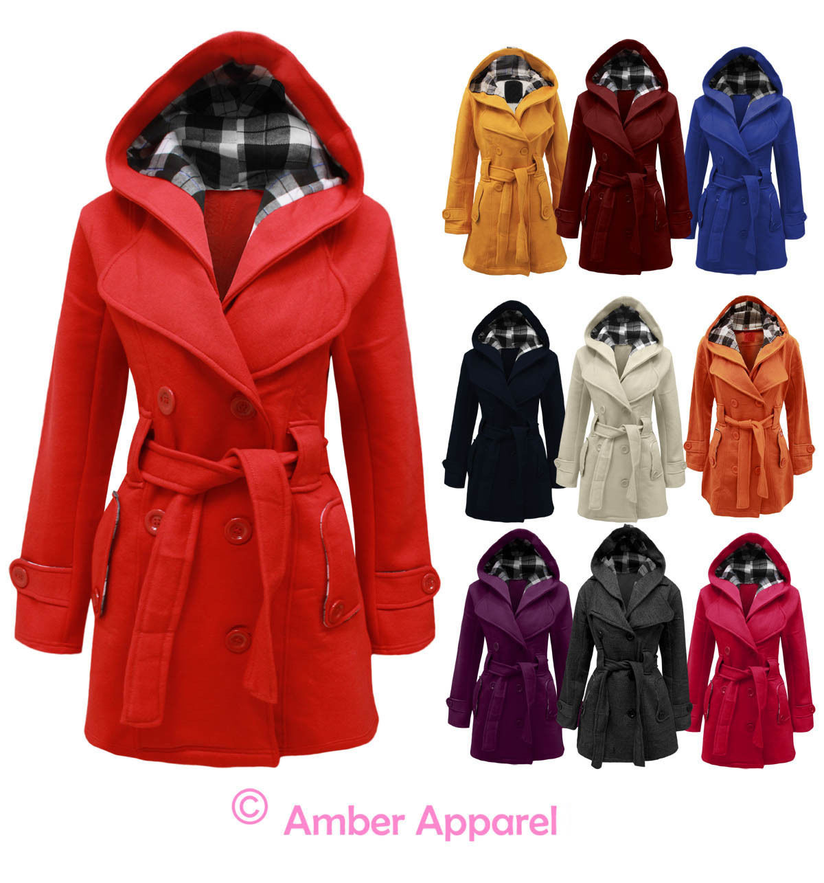 NEW LADIES HOODED BELTED FLEECE JACKET WOMENS COAT TOP SIZES 8-20 | eBay