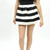 Stripe skater color block stretch scalloped detail cute mini skirt