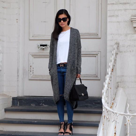 long jacket jeans bag sunglasses jumper cardigan