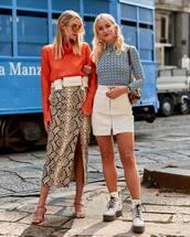 skirt,midi skirt,side split,mid heel sandals,white boots,platform boots,belt bag,turtleneck,mini dress,earrings,sunglasses