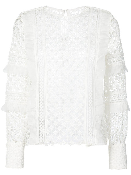 Self-Portrait - daisy frill detail blouse - women - Polyester - 14, White, Polyester