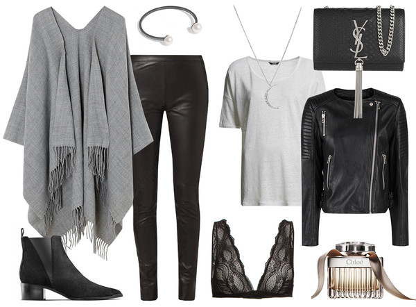 passions for fashion blogger poncho leather jacket bra