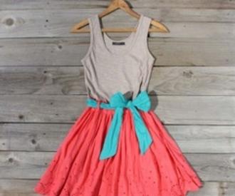 dress bow bow back pretty cute orange blue