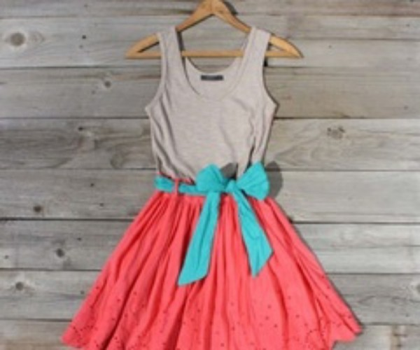 dress bow bow back pretty cute orange blue
