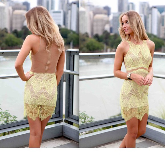 yellow dress lace dress cocktail dresses