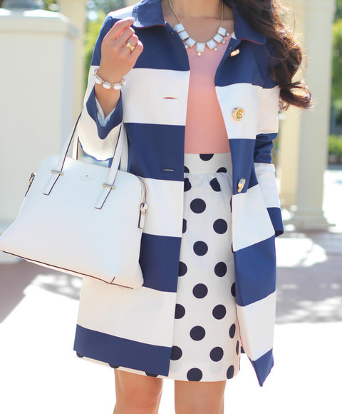 blue and white striped coat