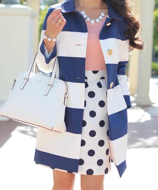 coat blue and white striped striped coat bag