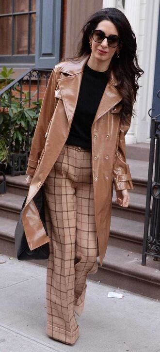 coat trench coat amal clooney pants plaid top