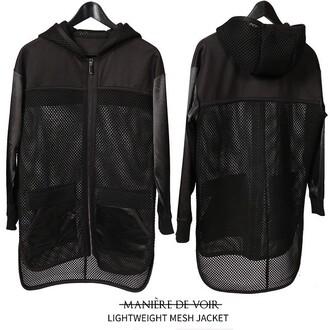 jacket maniere de voir longline mesh black satin
