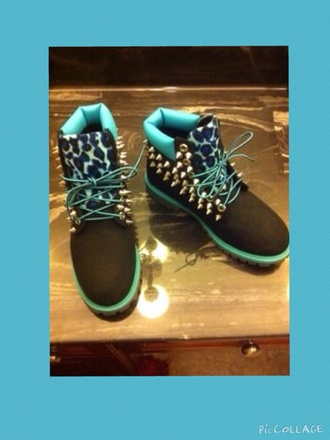 shoes timberlands blue shoes
