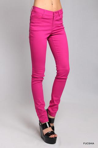 Fuchsia stretch skinny jeans