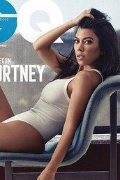 top,bodysuit,kourtney kardashian,kardashians,white,editorial