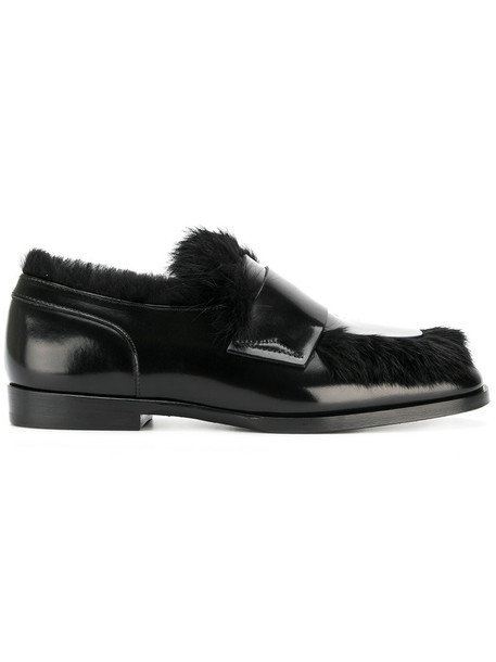 Jimmy Choo fur women loafers leather black shoes