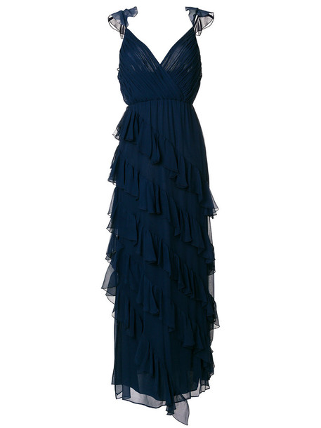 Alice+Olivia dress maxi dress maxi women spandex blue silk