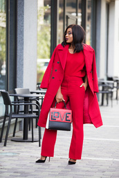 jadore-fashion,blogger,coat,pants,sweater,shoes,jewels,bag,fall outfits,red coat,red pants,red sweater,handbag,pumps