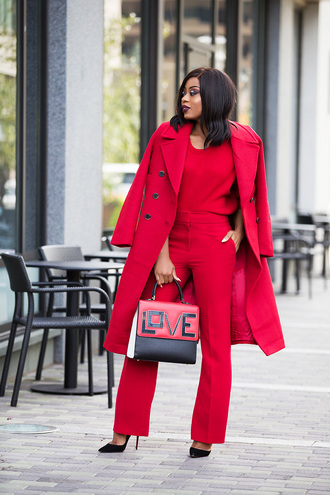 jadore-fashion blogger coat pants sweater shoes jewels bag fall outfits red coat red pants red sweater handbag pumps