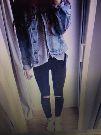 coat denim jacket tumblr girl