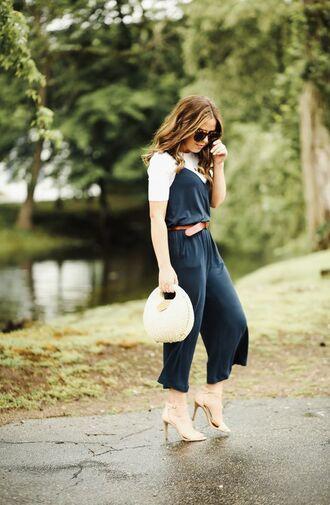jumpsuit tumblr blue jumpsuit cropped jumpsuit bag sandals sandal heels high heel sandals t-shirt white t-shirt sunglasses belt shoes work outfits office outfits