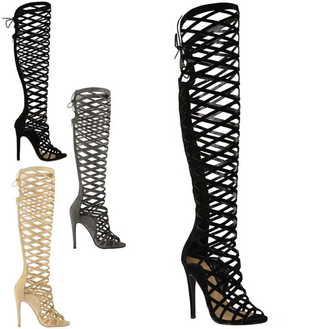 Cut Out Thigh High Boots - Boot Hto