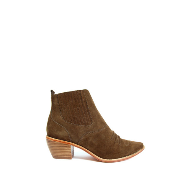 medium heels opening ceremony leather suede ankle boots brown shoes