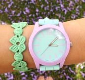jewels,watch,bracelets,green watch,purple,pink,pastel,cute,flowerpower,girly,kawaii
