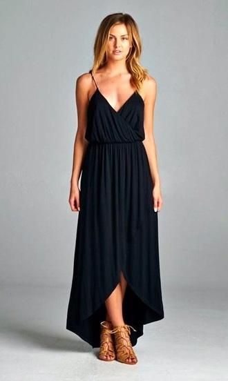 dress girl girly casual dress casual black dres long black dress fashion black maxi dress maxi high-low dresses classy dress