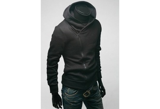 sweater black hoodie collar zip sweatshirt